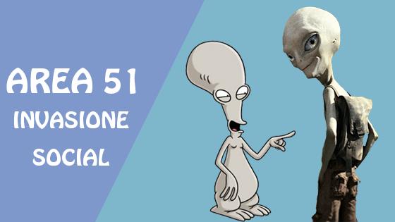Area 51 e l'invasione social. Copertina.